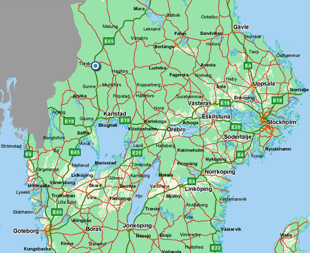 From Stockholm on the east coast to Gothenburg on the westcoast. Through Göta Kanal which starts south of Norrköping and runs through lakes Vättern and Vänern